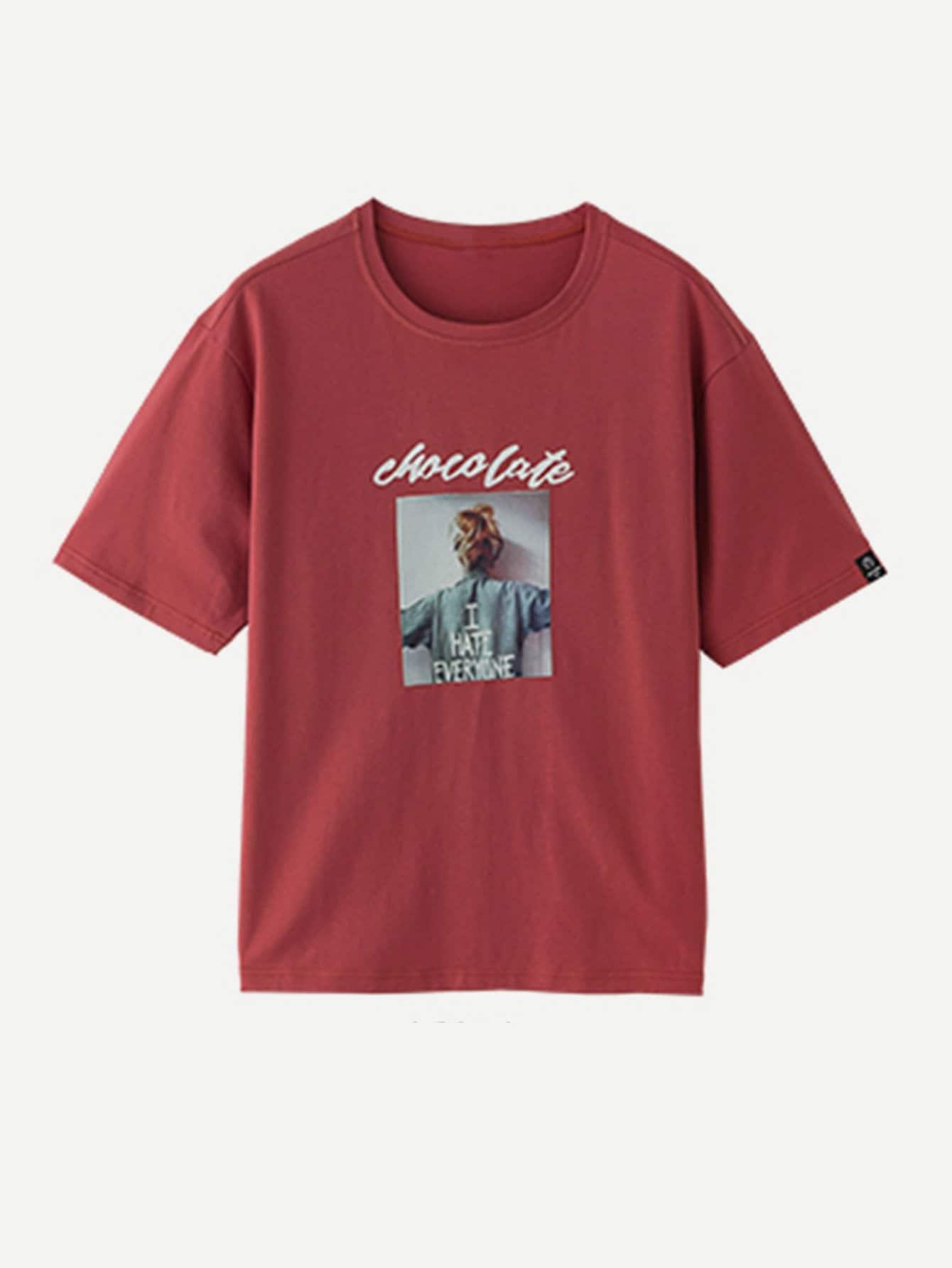 Men Letter Print Drop Shoulder Tee letter print drop shoulder sweatshirt