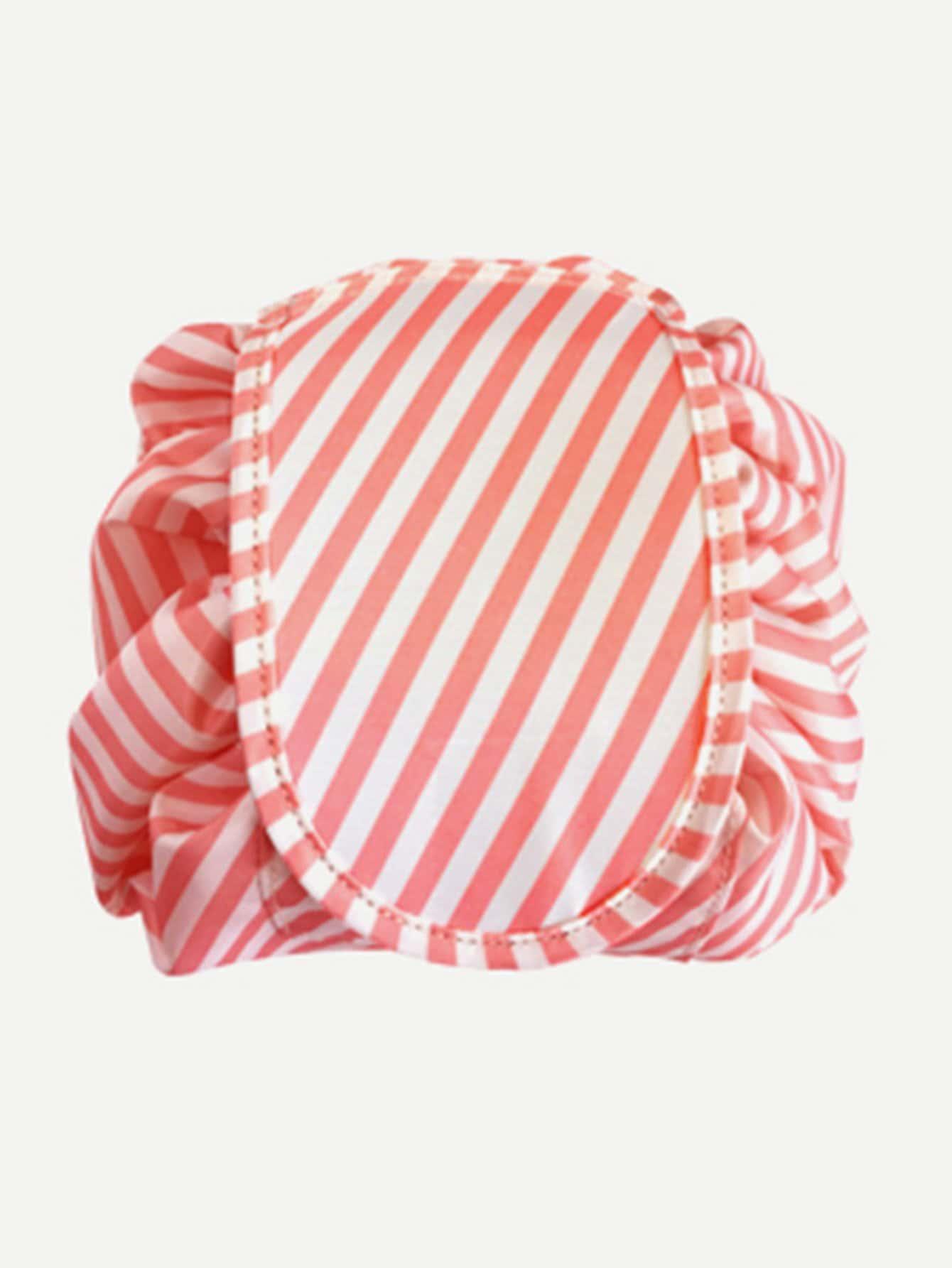 Striped Drawstring Wrap Around Makeup Bag striped wrap pencil bag