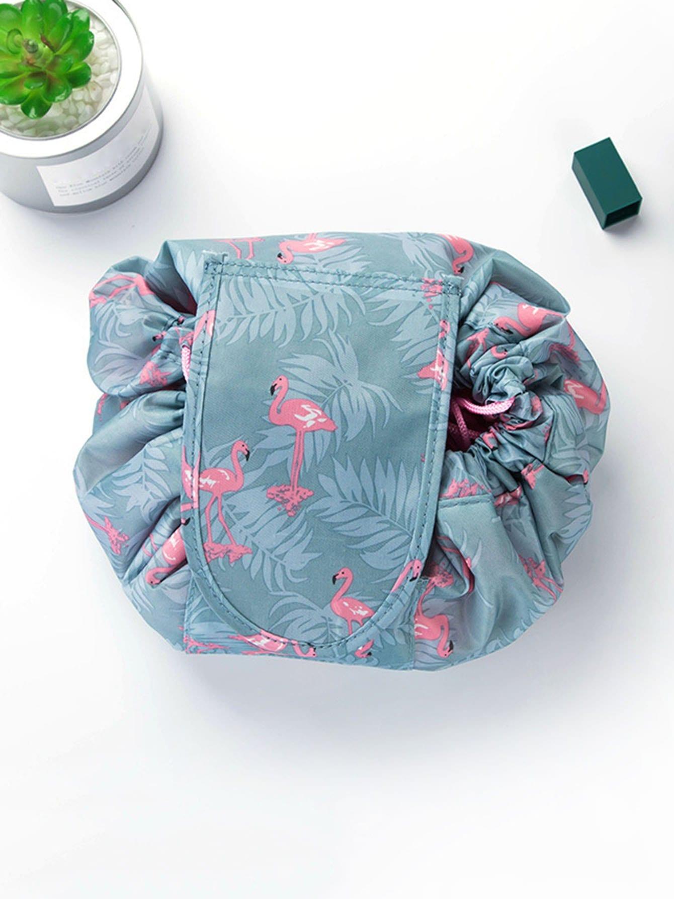 Flamingo Drawstring Wrap Around Makeup Bag drawstring wrap around makeup bag
