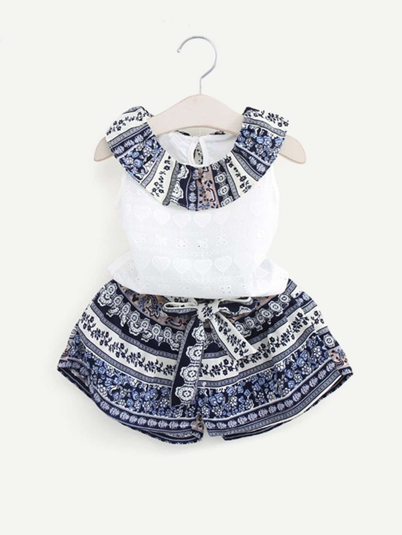 Girls Ruffle Neck Laser Cut Detail Top With Tribal Print Shorts