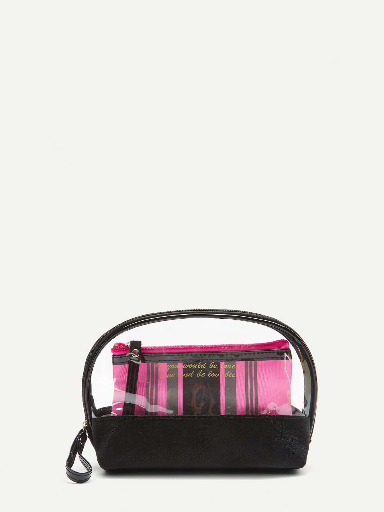 Striped Makeup Bag 2pcs striped drawstring wrap around makeup bag