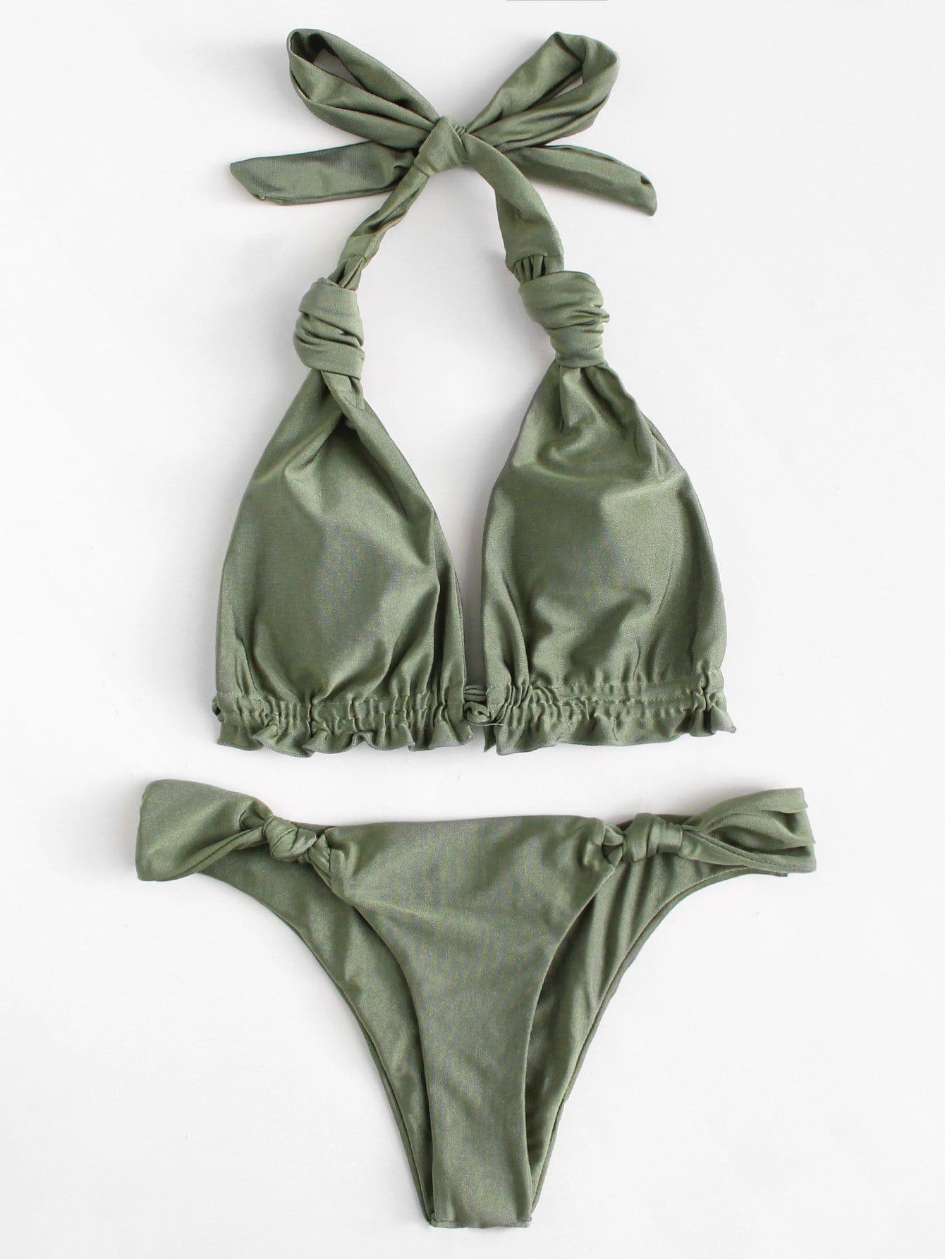 Knot Halter Bikini Set knot back wrap halter bikini set
