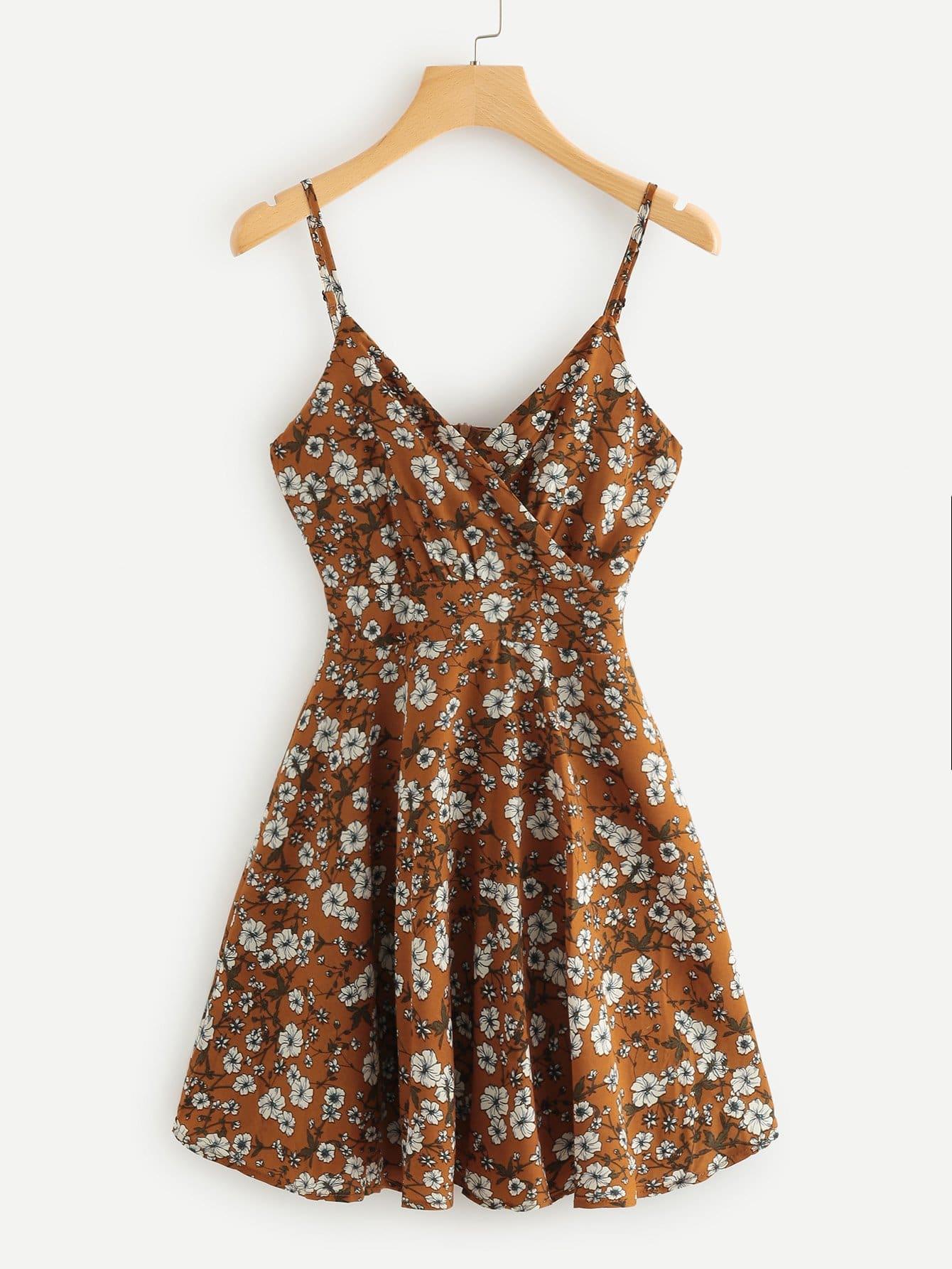 Floral Print Wrap Cami Dress