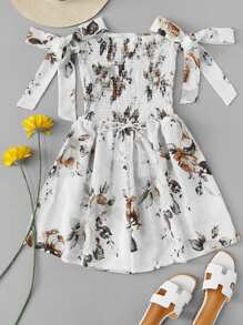Floral Print Knot Sleeve Pleated Dress