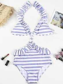 Striped Ruffle Bikini Set