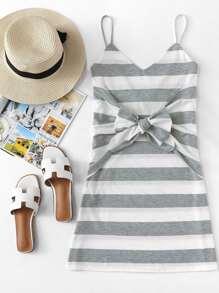 Knot Detail Striped Cami Dress
