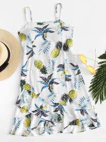 Ruffle Hem Pineapple Print Cami Dress