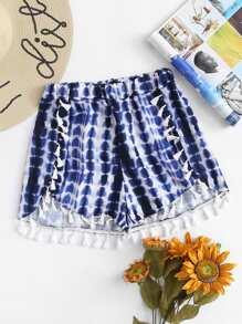 Fringe Trim Tie Dye Shorts