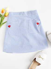 Heart Patch Checked Skirt