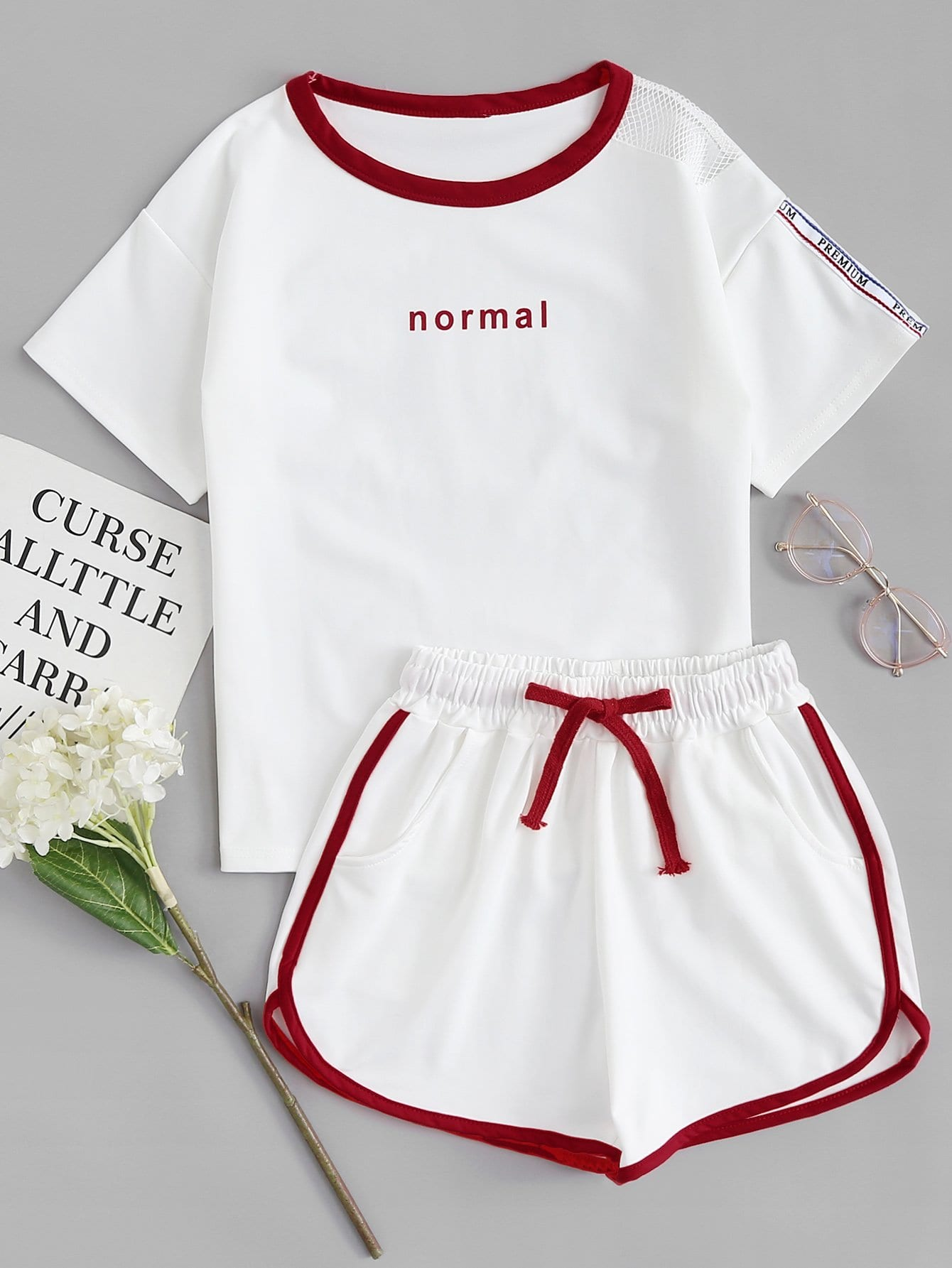 Letter Print Tee With Shorts