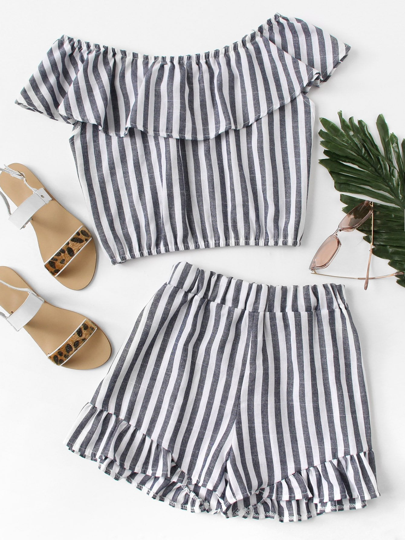 Off Shoulder Tiered Striped Top With Shorts