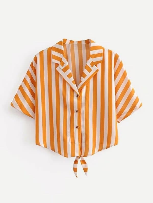 Contrast Striped Knotted Blouse contrast striped knotted hem frill blouse