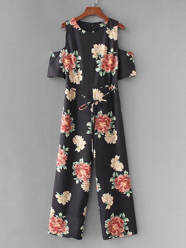 Open Shoulder Florals Wide Leg Jumpsuit zip up florals wide leg jumpsuit