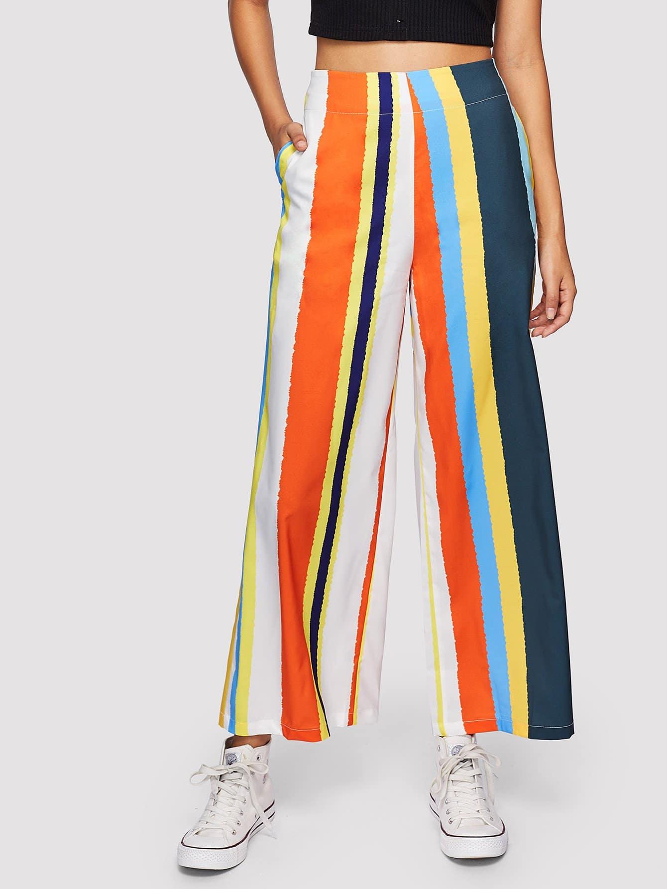 Multi-Stripe Wide Leg Pants alfred dunner women s wide leg pants 18w multi