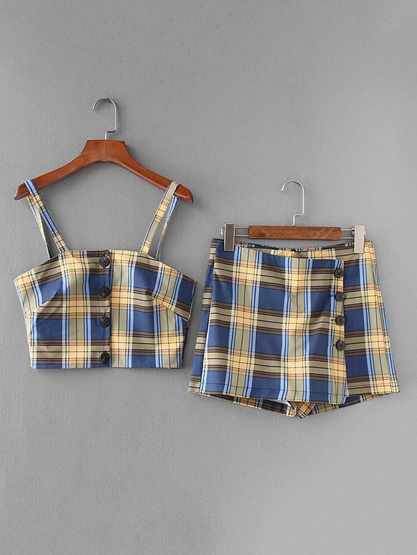 Tartan Plaid Crop Cami Top With Skort цена и фото