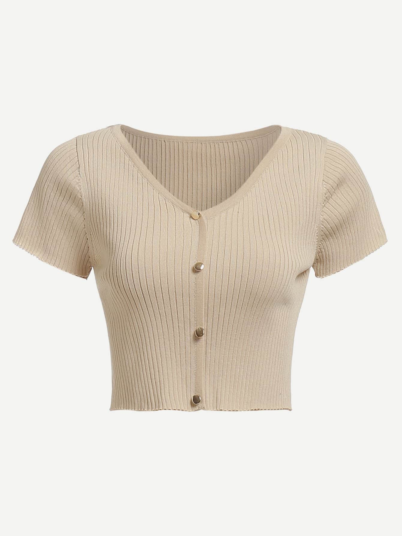Button Embellished Crop Fitted Top button embellished fit
