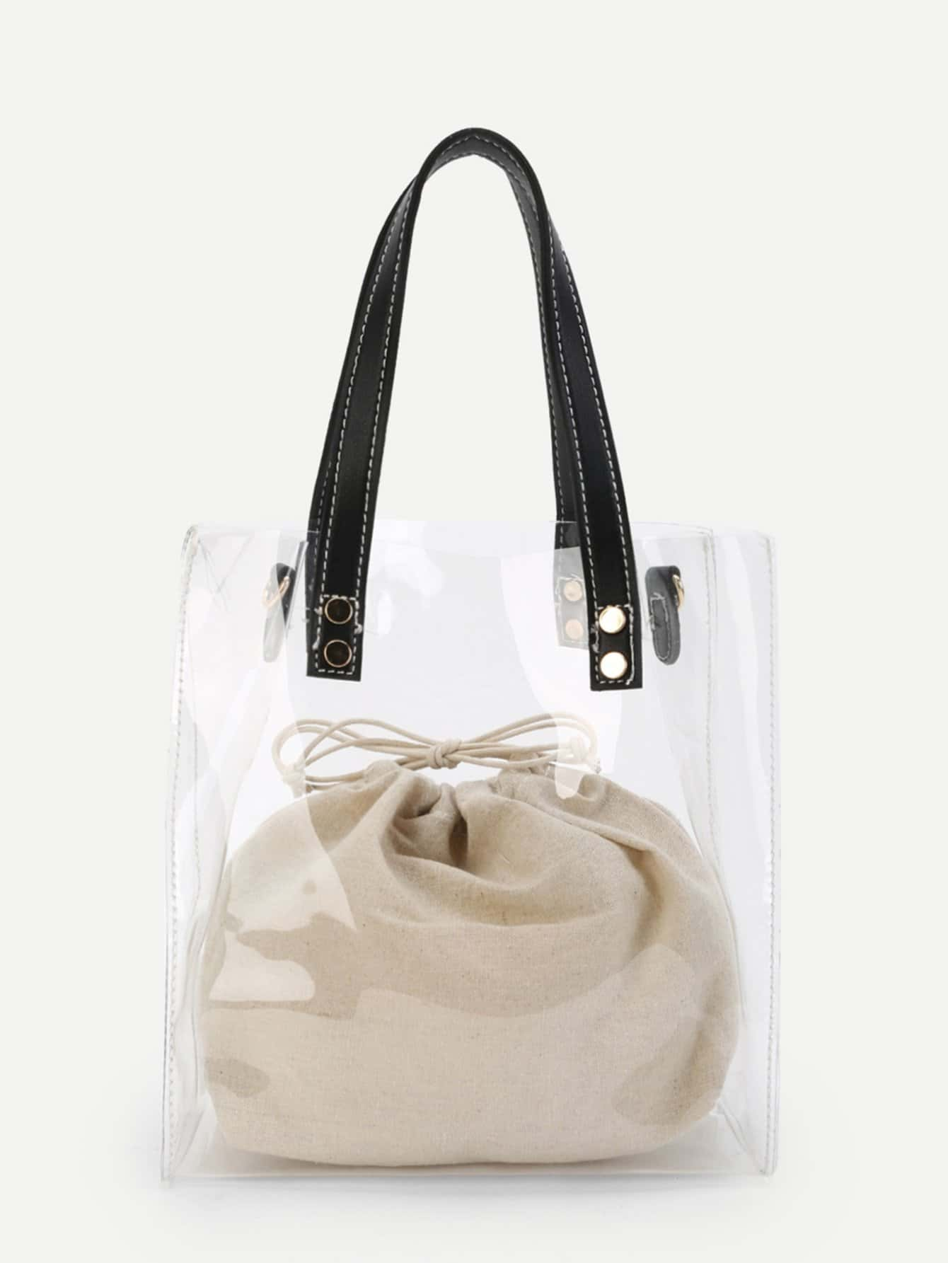 Clear Tote Bag With Inner Pouch clear wood handle bag with sequin pouch