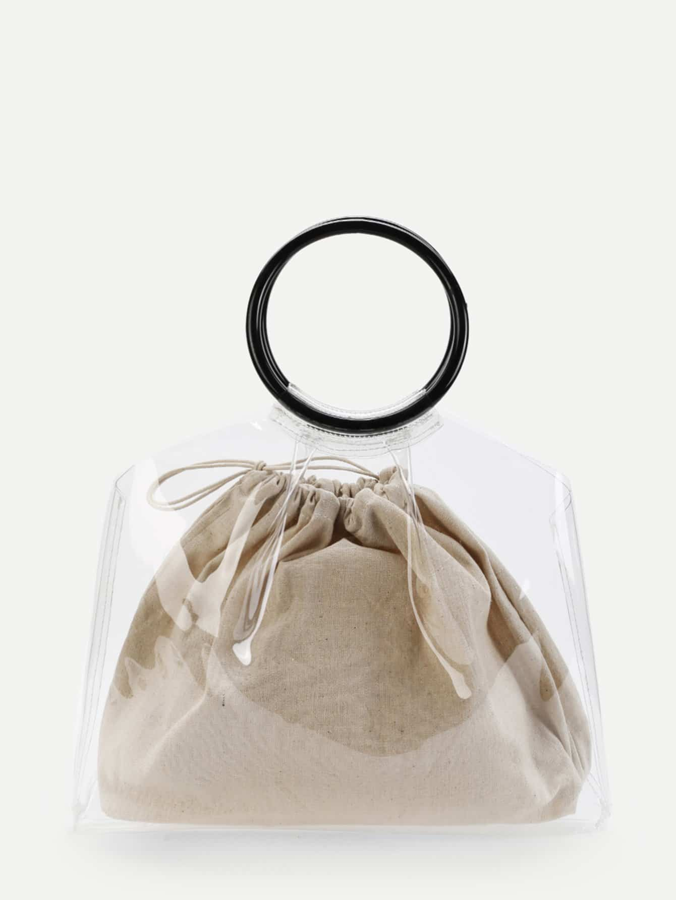 Ring Handle Tote Bag With Inner Pouch net tote bag with inner pouch