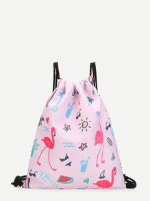 Mixed Print Canvas Backpack