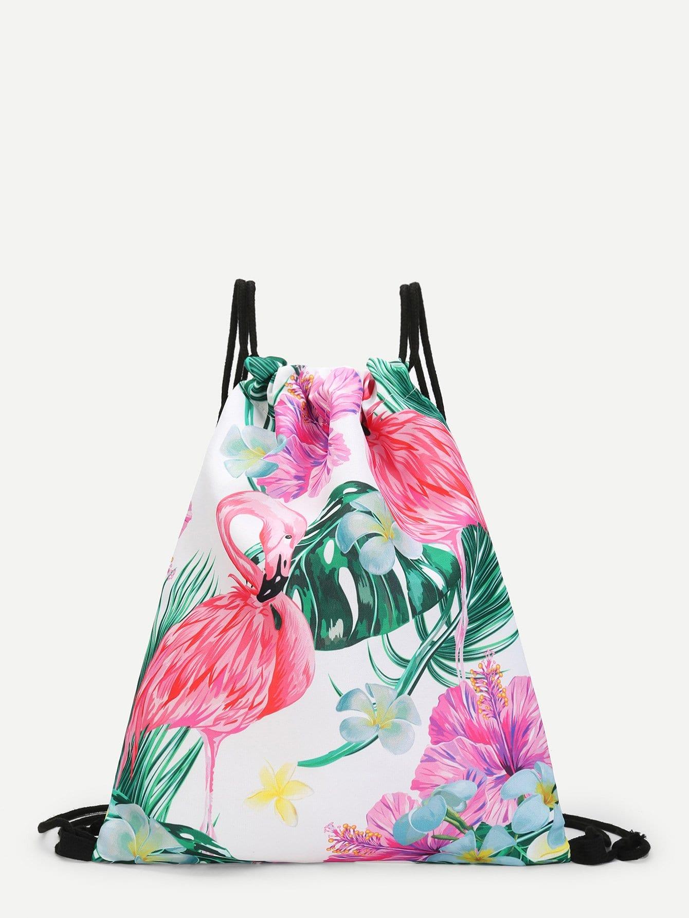 Купить Рюкзак с принтом фламинго и цветы, null, SheIn