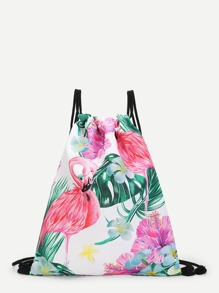 Flamingo & Flower Print Canvas Backpack