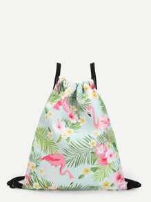 Flamingo & Flower Print Backpack