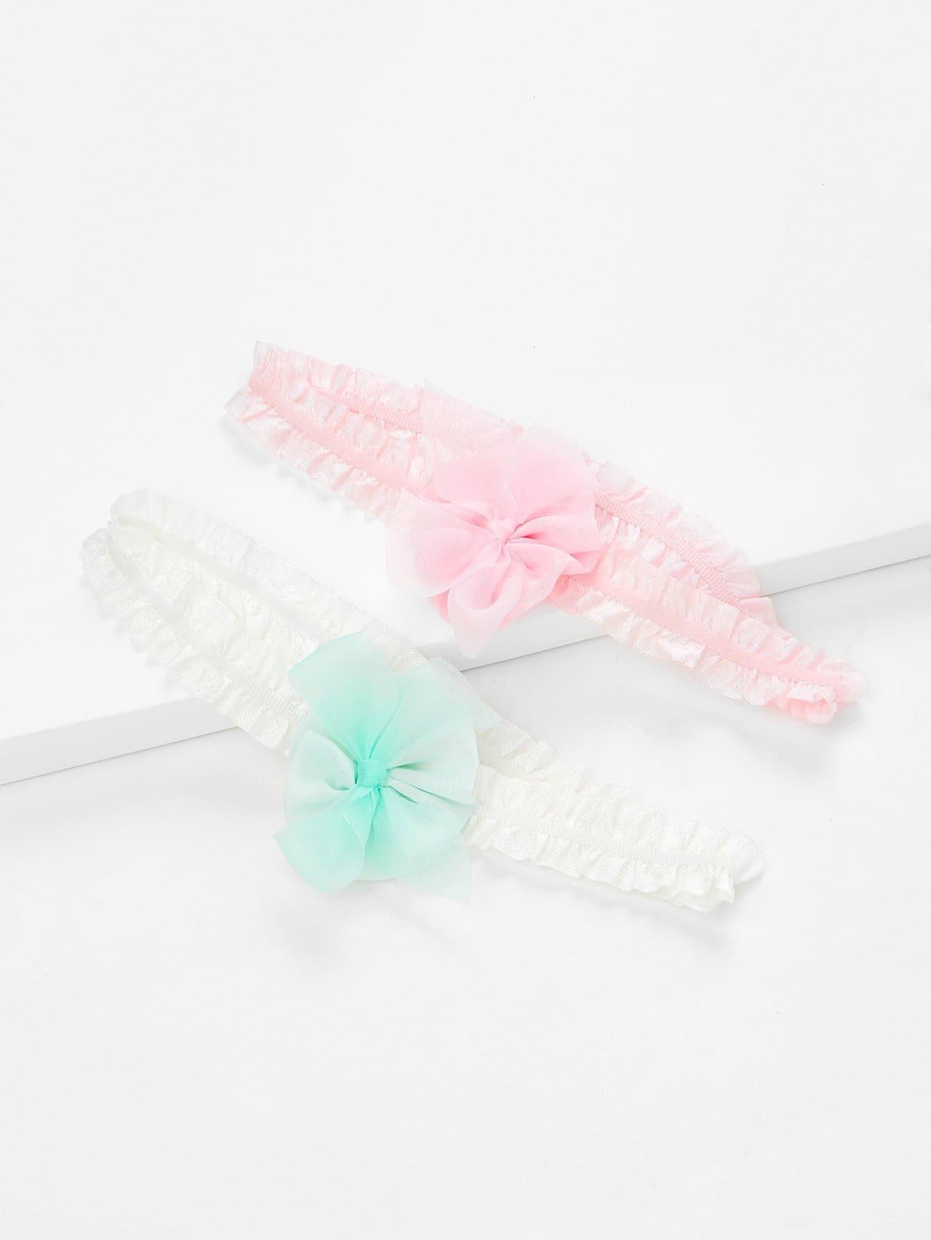 Flower Decorated Kids Headband Set 2Pcs