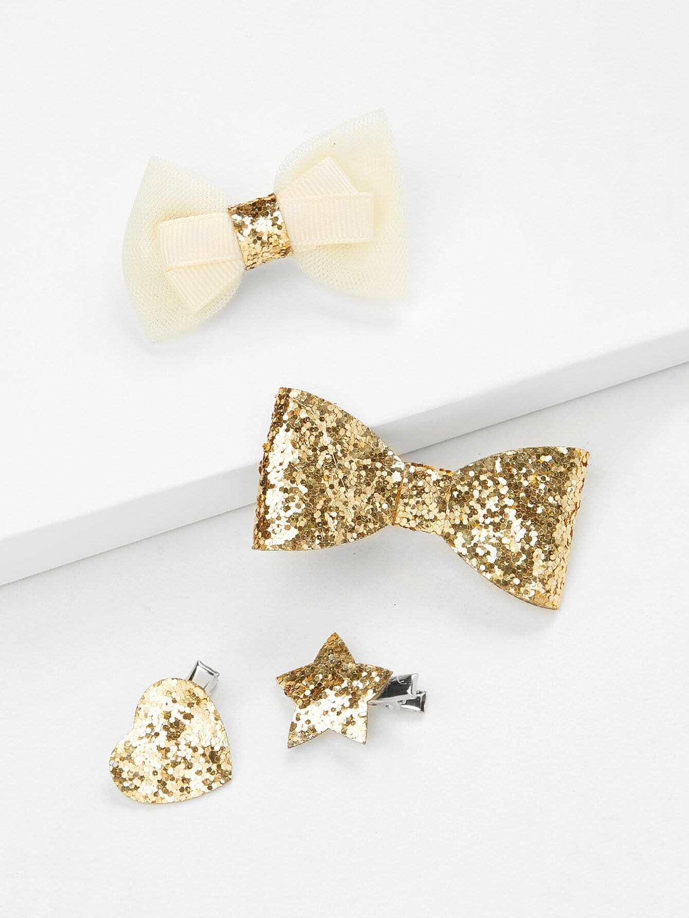 Bow & Star Design Kids Hair Clip Set 4Pcs все цены