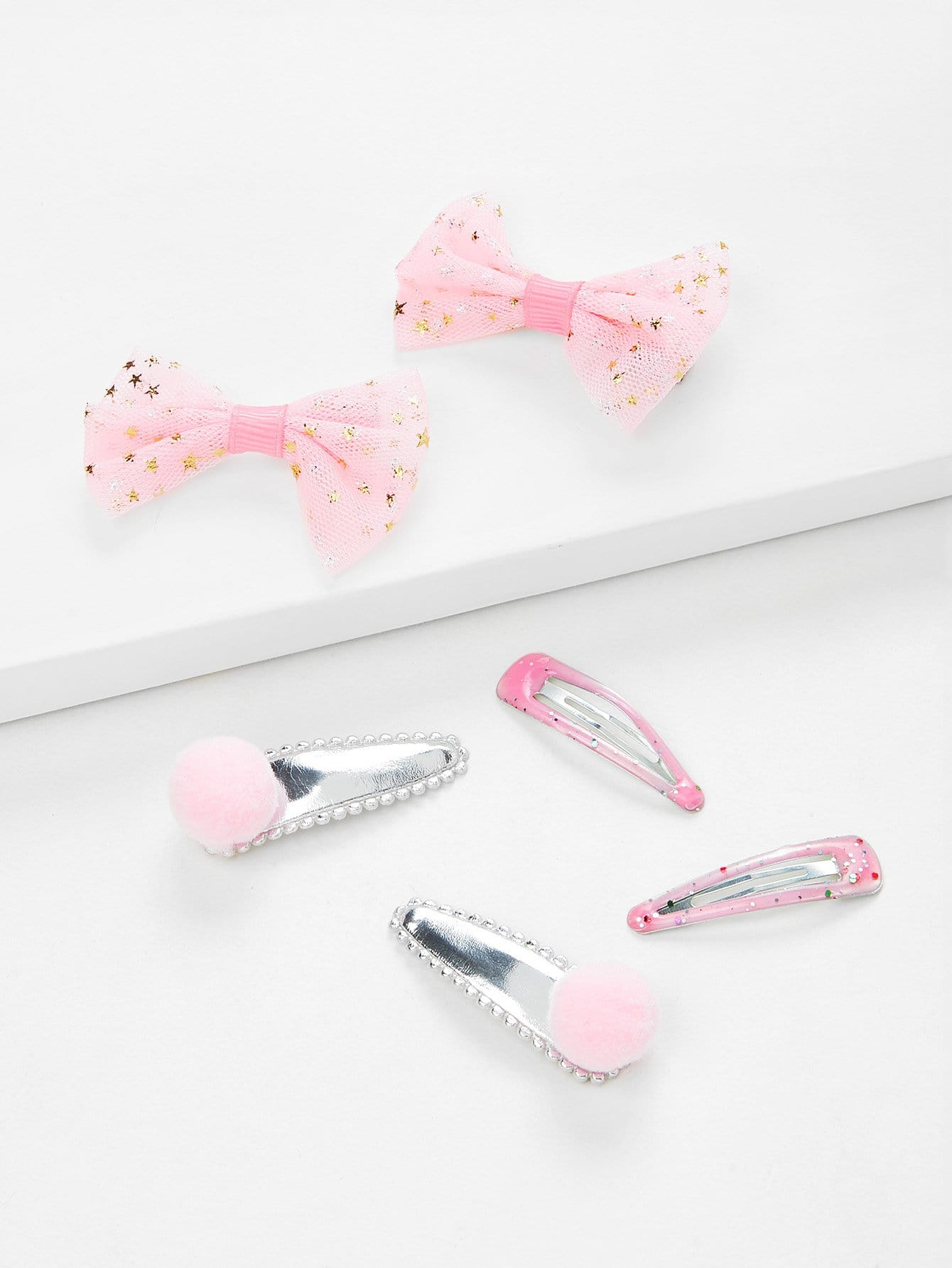 Bow & Pom Pom Design Kids Hair Clip Set 6Pcs все цены