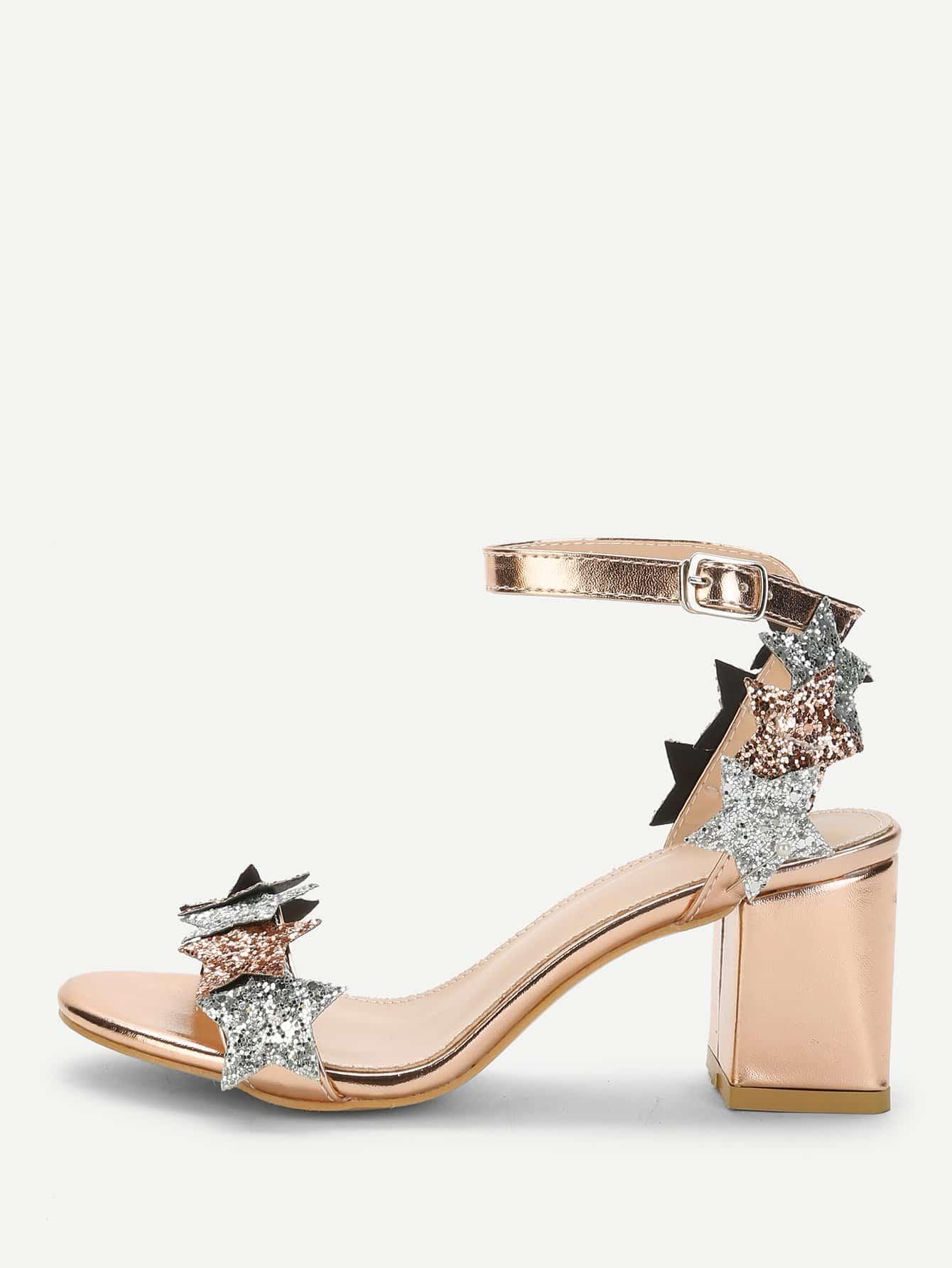 Glitter Star Detail Chunky Heeled Sandals star detail glitter crossbody bag