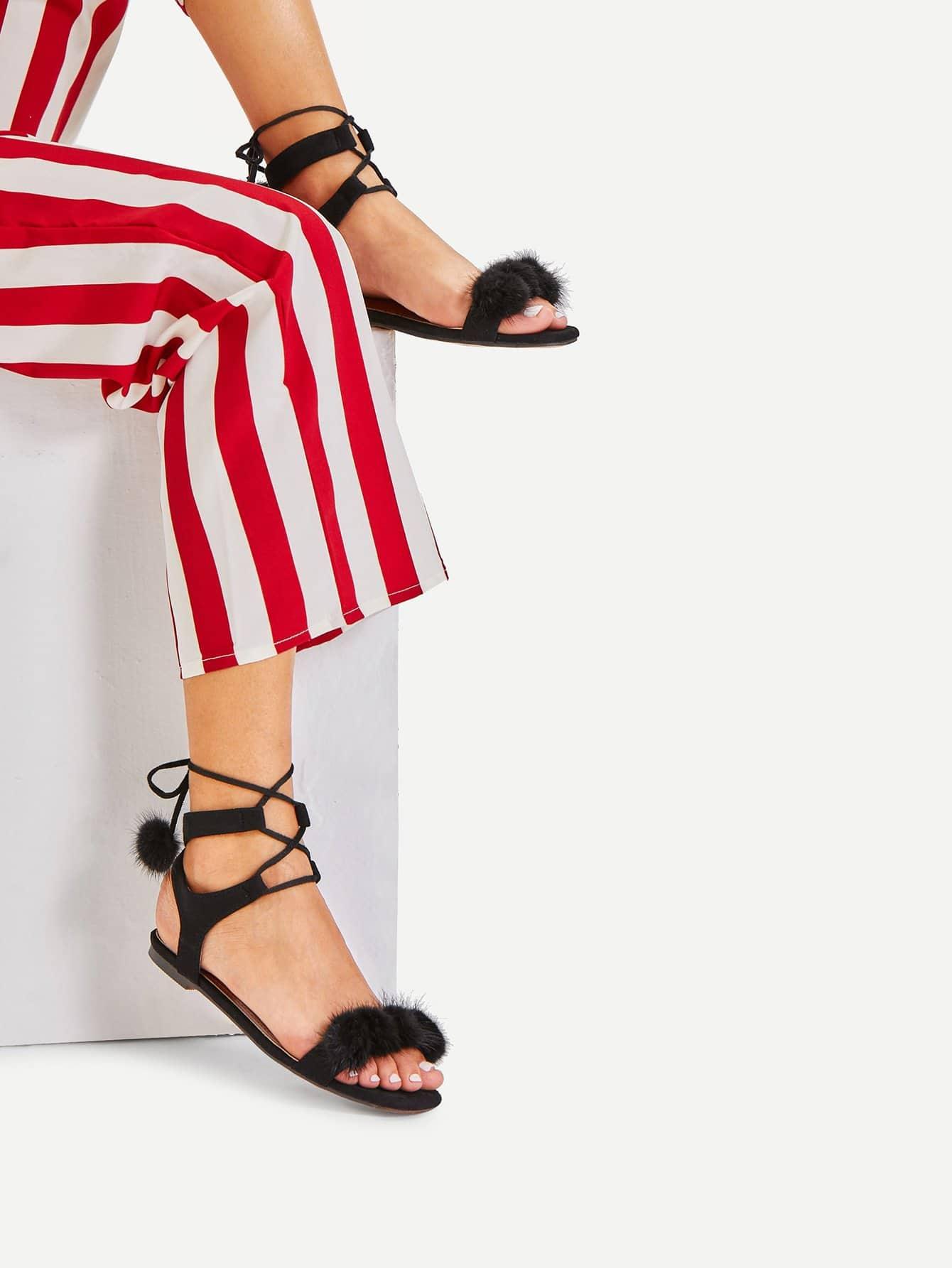 Lace Up Flat Sandals With Pom Pom pom pom detail tie leg flat sandals