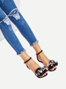 Tassel Detail Ankle Strap Stiletto Sandals