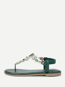 Clear Strap Toe Post Sandals With Rhinestone