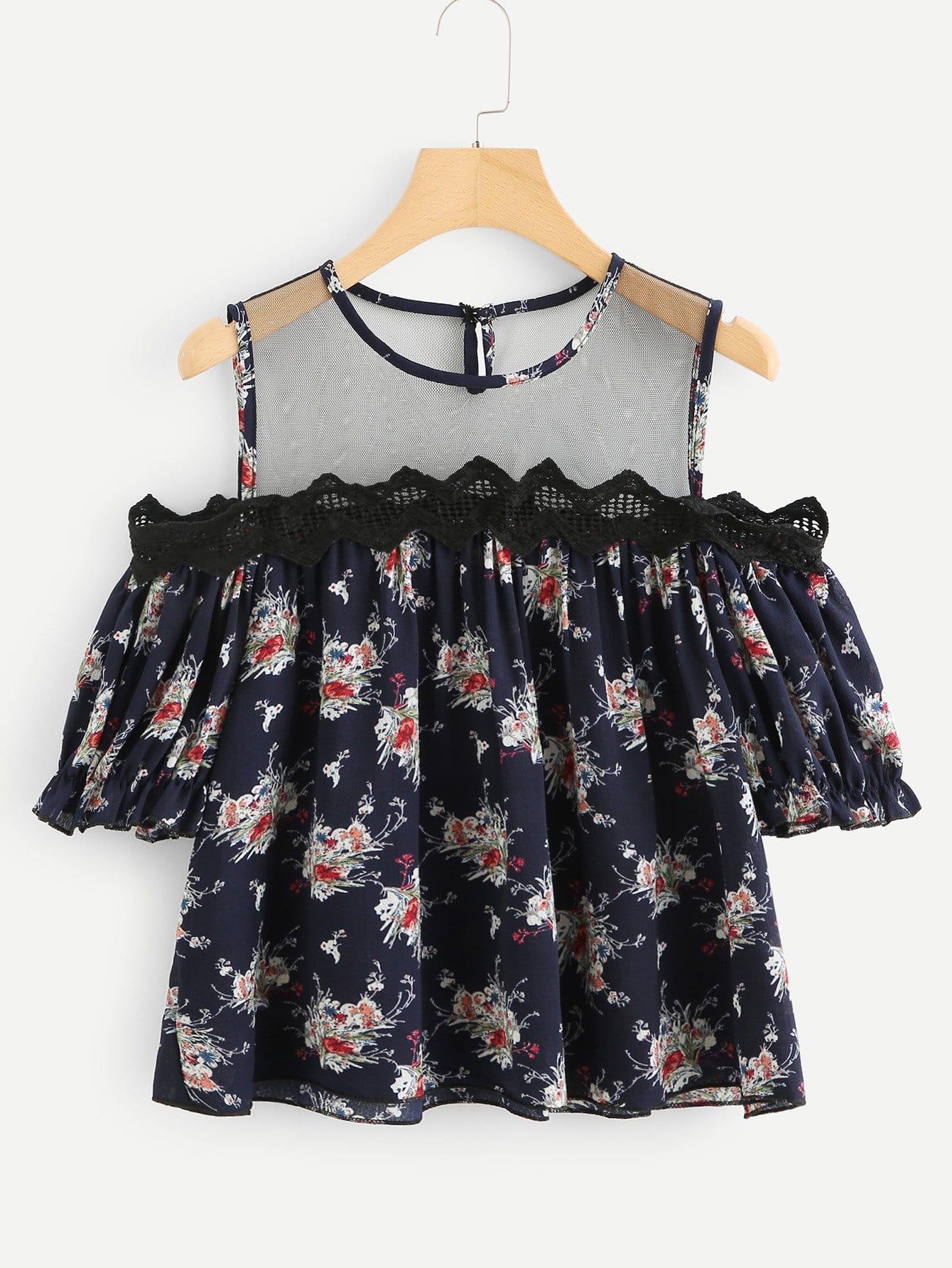 Floral Print Mesh Contrast Off Shoulder Blouse one shoulder floral print blouse