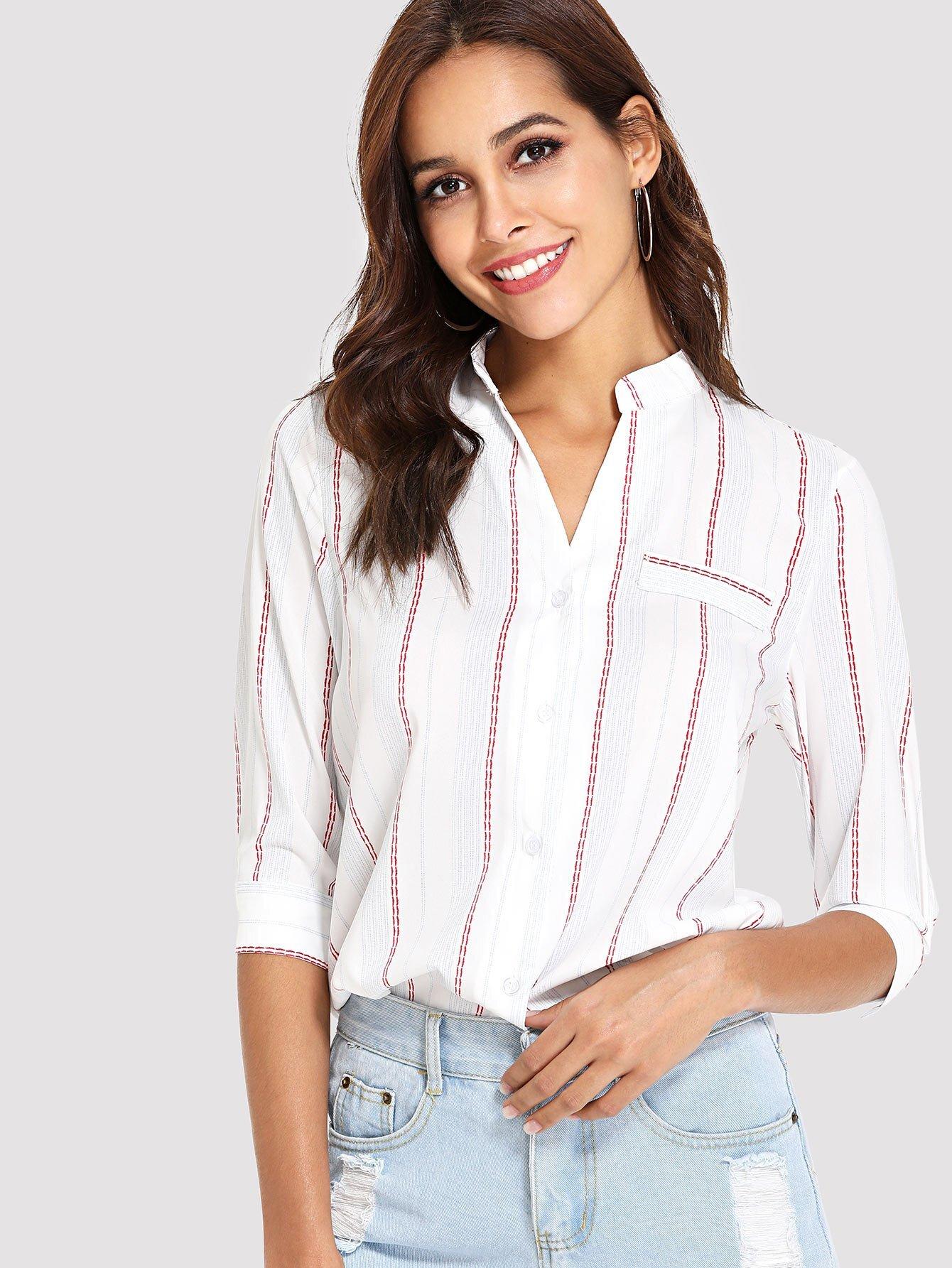 Купить Рубашка с полосками и ложным воротником, Giulia, SheIn