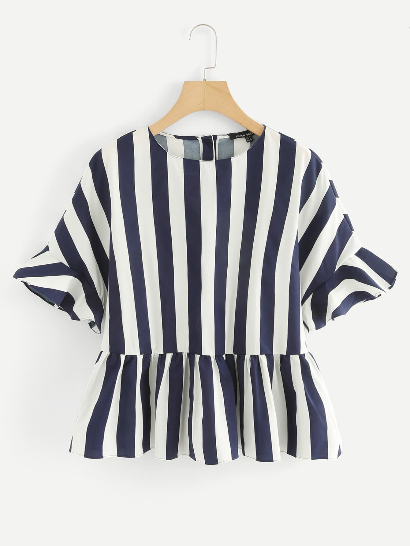 Block Stripe Ruffle Hem Blouse block stripe hanky hem skirt
