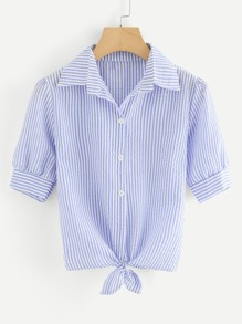 Knot Front Stripe Shirt