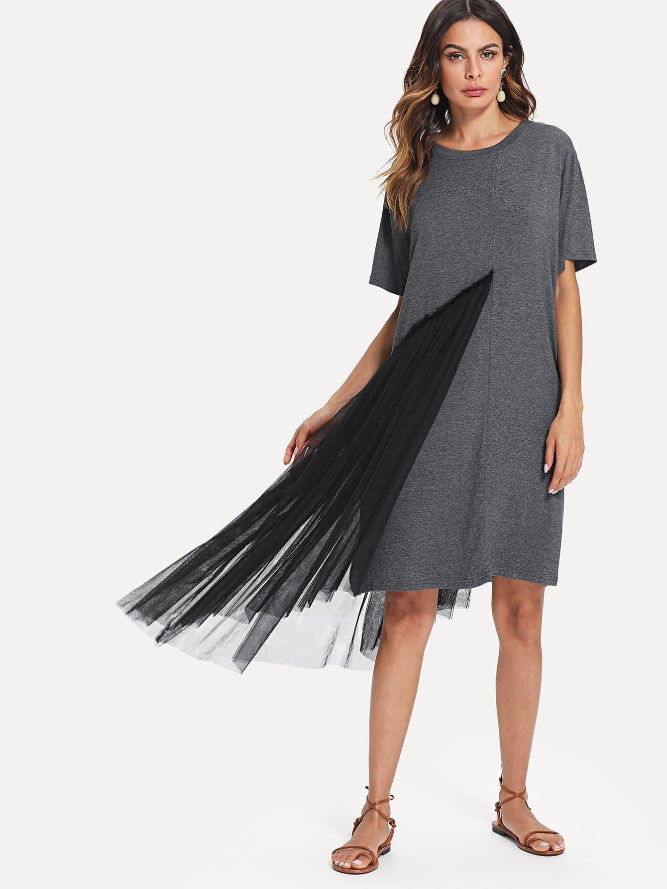 все цены на Mesh Contrast Tee Dress