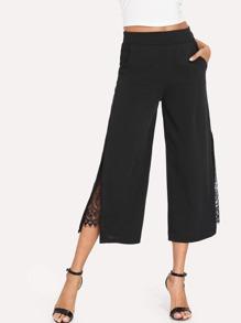 Lace Contrast Split Side Wide Leg Pants