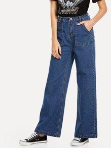 Dual Pocket Wide Leg Jeans