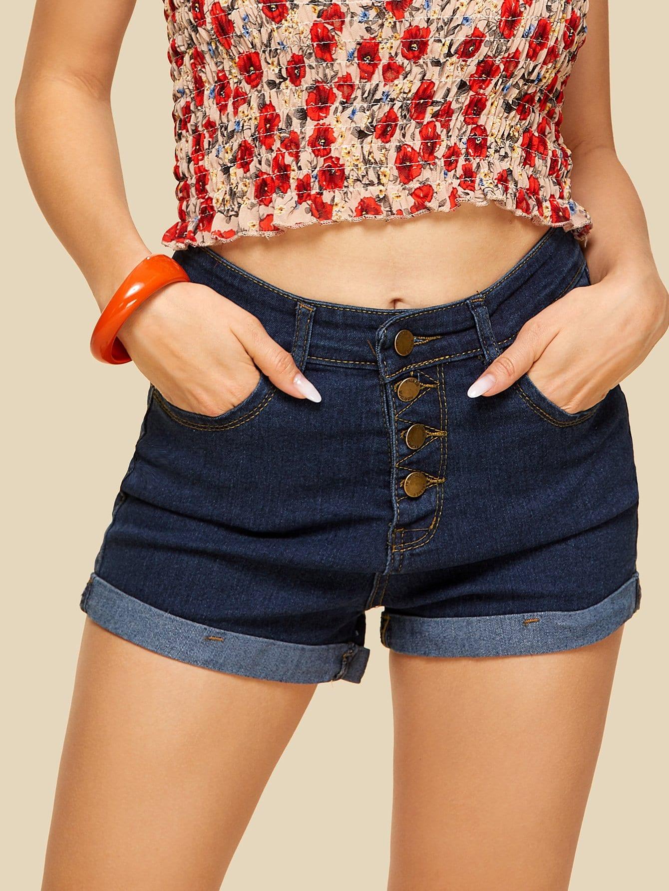 Roll Up Hem Button Front Denim Shorts