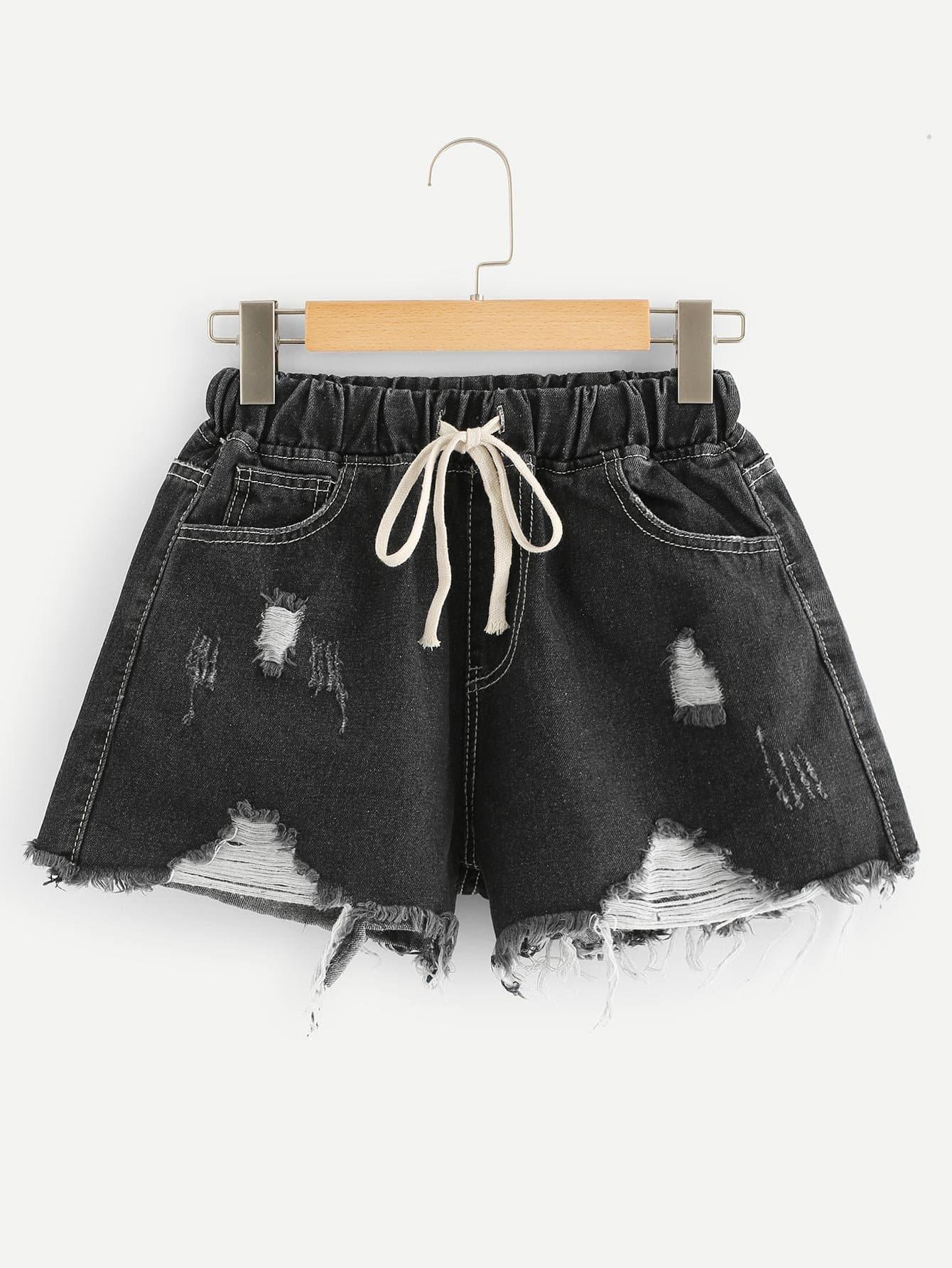 Drawstring Frayed Hem Denim Shorts drawstring waist frayed denim shorts