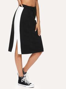 Split Side Stripe Contrast Skirt