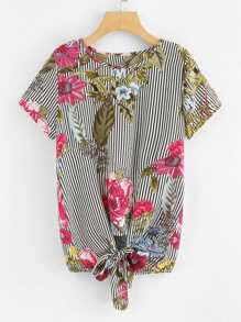 Floral Print Stripe Knot Front Top