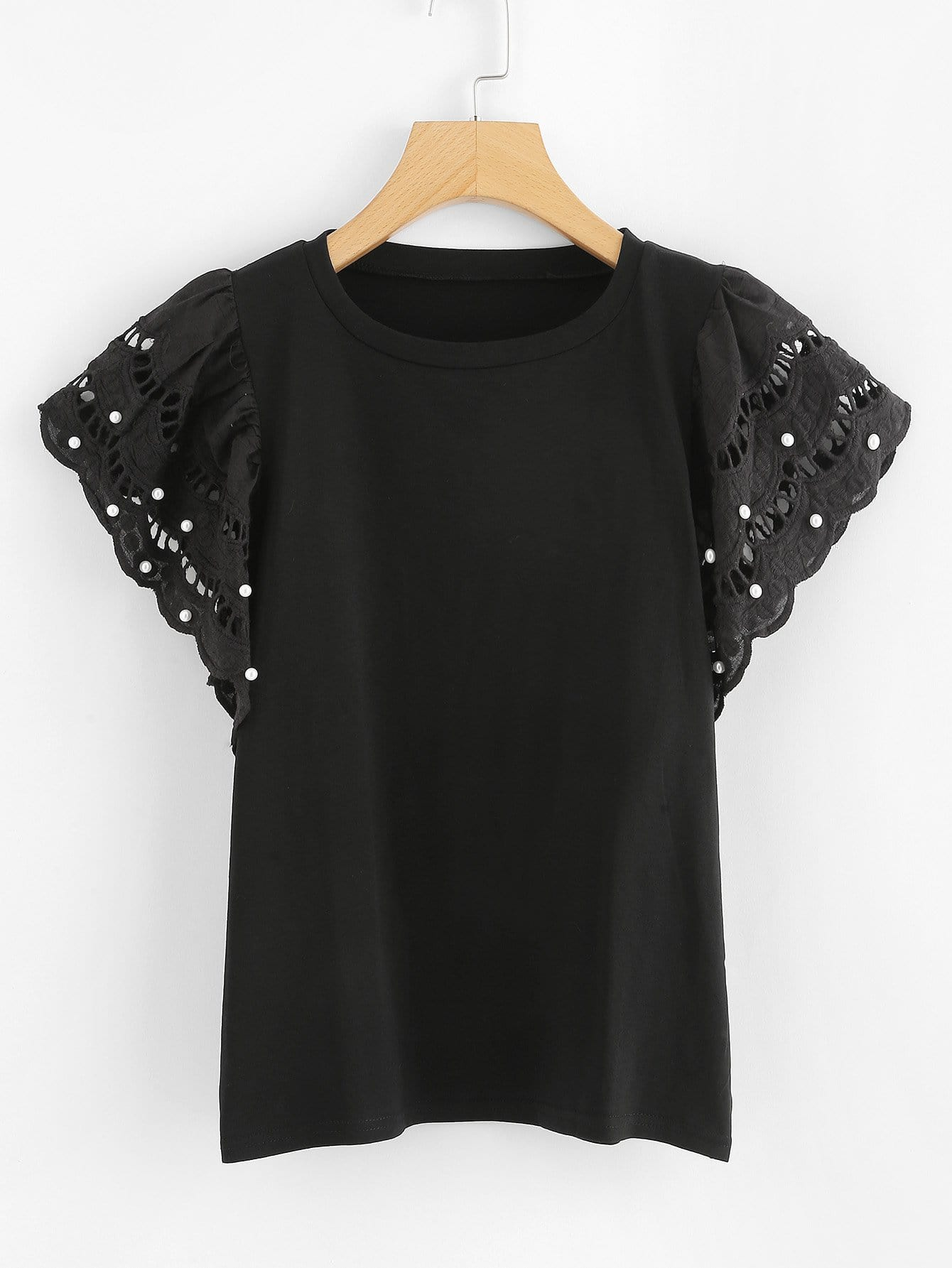 все цены на Faux Pearl Detail Cut Out Top