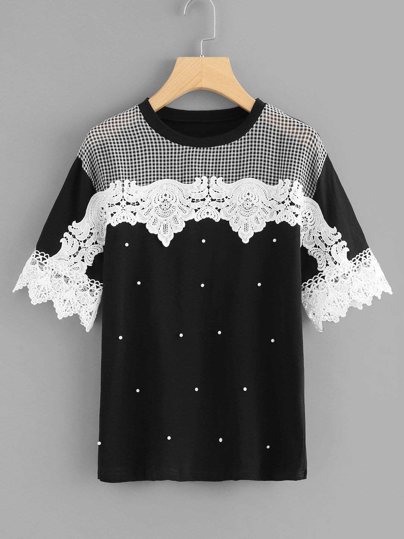Lace Crochet Contrast Plaid Contrast Top lace crochet contrast open shoulder top