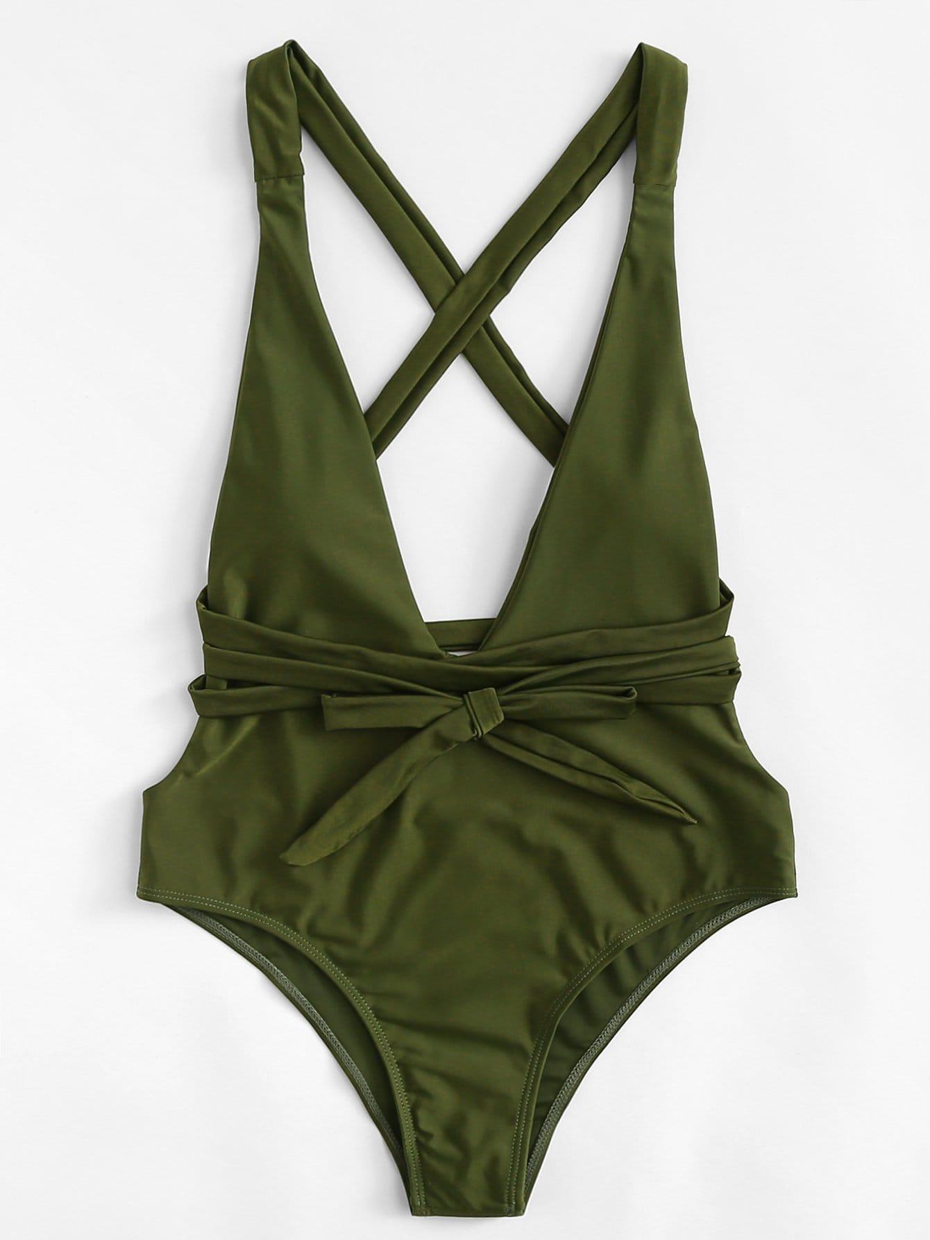 Cross Back Knot Swimsuit wrap knot swimsuit