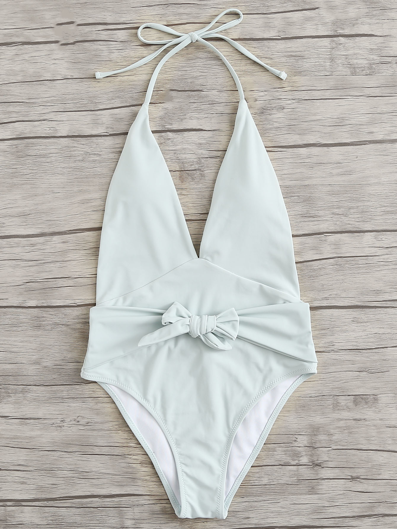 Knot Front Backless Swimsuit wrap knot swimsuit