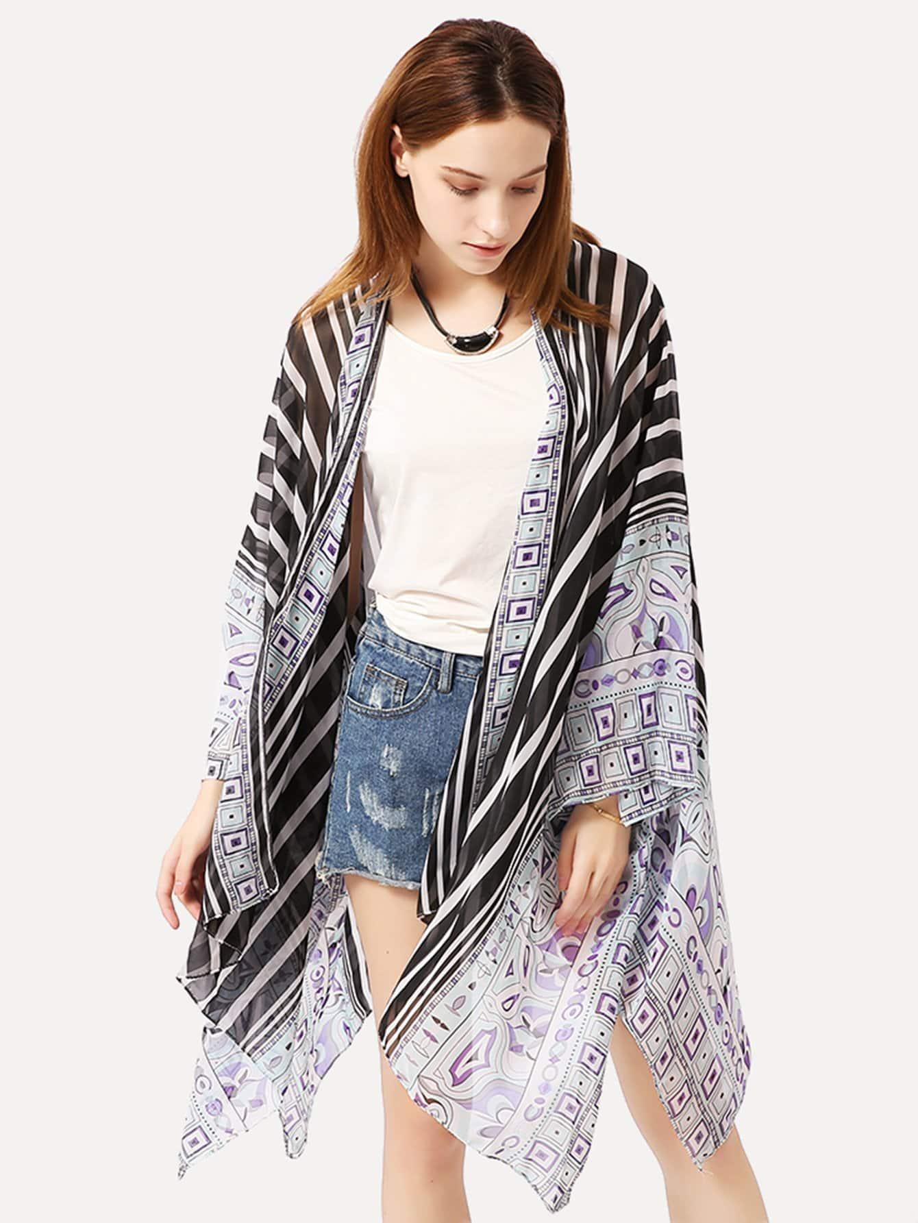 все цены на Striped Split Hem Kimono