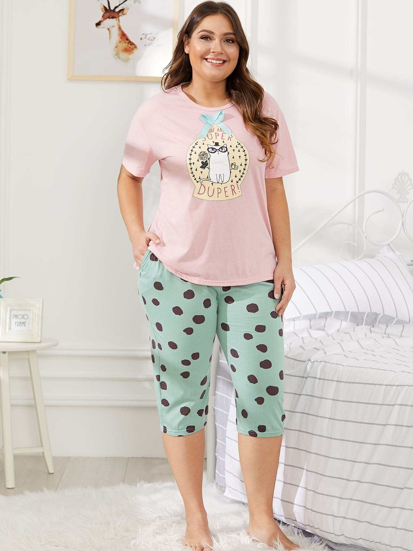 Cat & Letter Print Polka Dot Pajama Set all over cat print pajama set